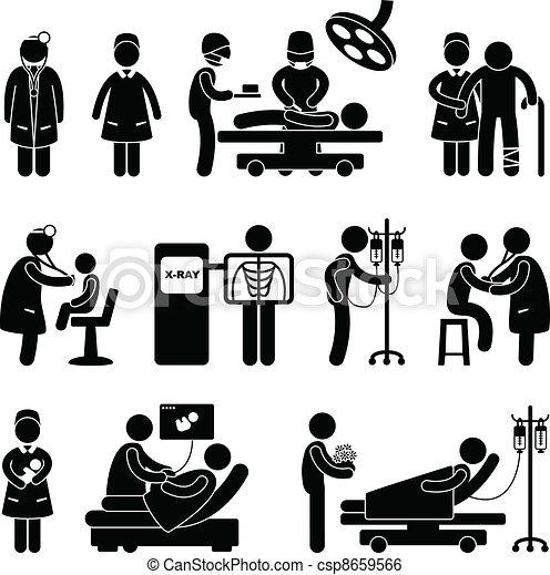 doutor, enfermeira cirurgia, hospitalar - csp8659566