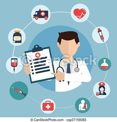 doutor médico, círculo, ícones - csp37159383