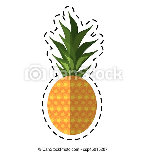 Doux fruit tropical ananas dessin anim ic ne 10 - Dessiner un fruit ...
