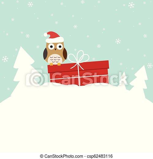 doux, hiver, carte, hibou - csp62483116