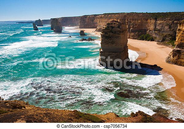 douze, grand, australie, route, apôtres, océan, victoria - csp7056734