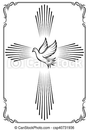 dove., emblème, symbolique, croix, illustration, vecteur, gabarit, church., design. - csp40731936