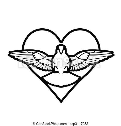 Dove, heart, tattoo - csp3117083