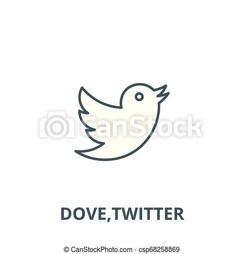Dove, line icon, vector  Dove, outline sign, concept symbol, flat  illustration