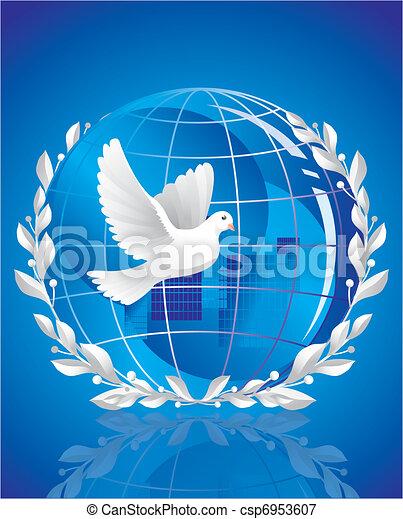 dove of peace near globe  - csp6953607
