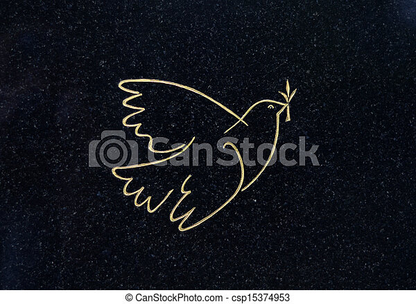Dove Of Peace On A Grave - csp15374953