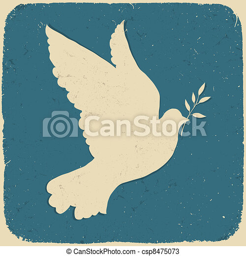 Dove of Peace. Retro styled illustration, vector, eps10. - csp8475073