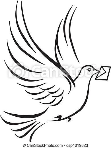 dove symbol on white - csp4019823