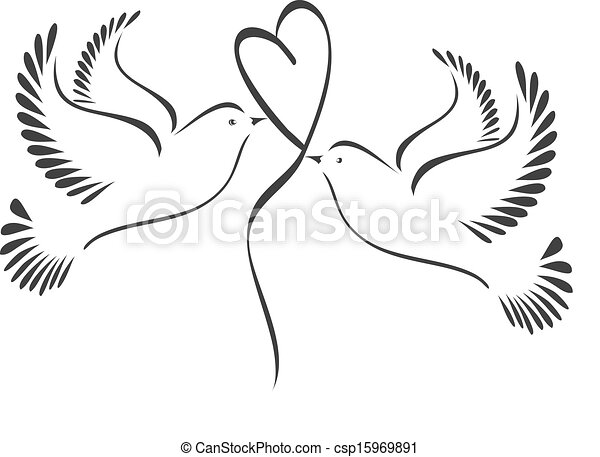 Doves with heart - csp15969891