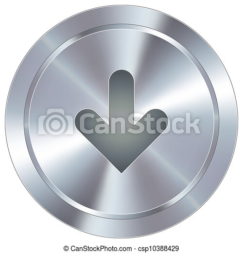 Down arrow on industrial button - csp10388429