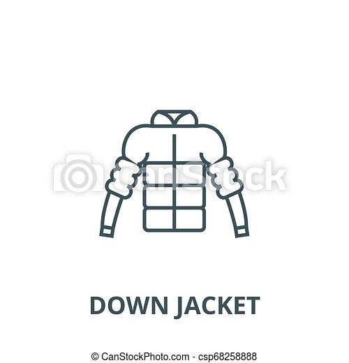 bb037ddb872 Down Jacket Line Icon, Vector. Down Jacket Outline Sign, Concept Symbol, Flat  Illustration