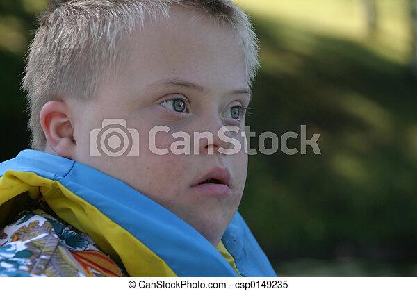Down Syndrome Boy - csp0149235
