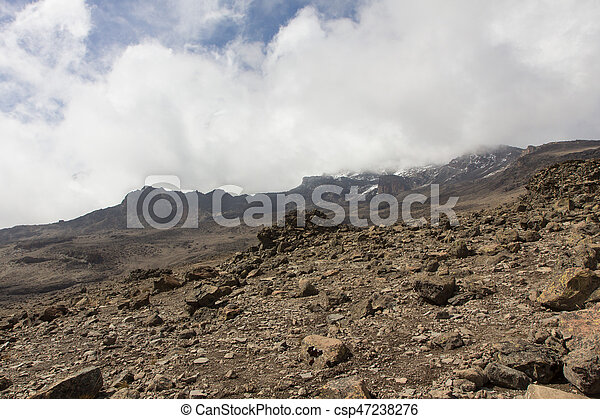 Downhill from the summit of Kilimanjaro - csp47238276