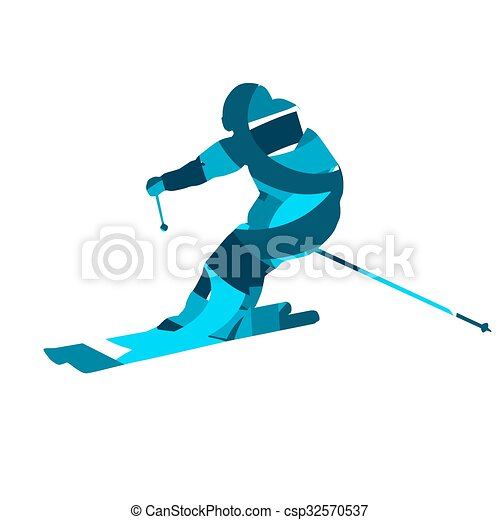 Downhill skier. Blue abstract vector silhouette, flat design - csp32570537