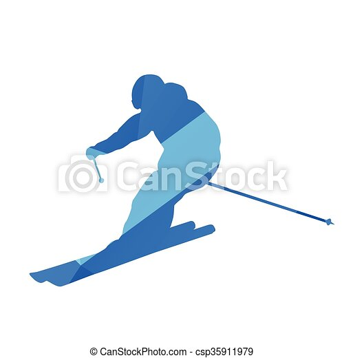 Downhill skier, vector silhouette - csp35911979