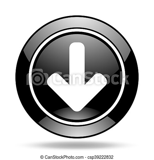 download arrow black glossy icon - csp39222832