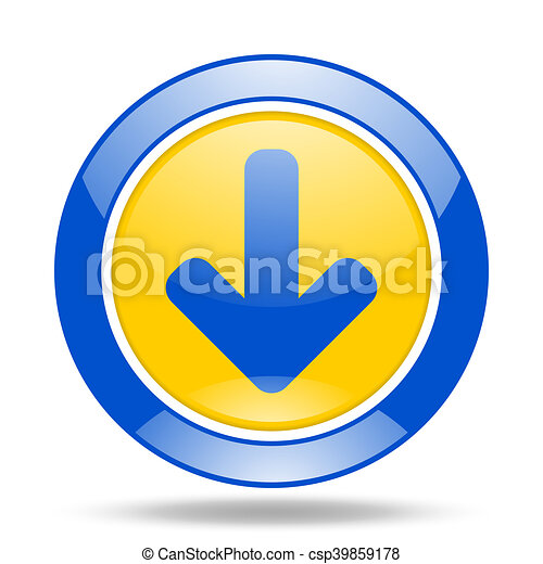download arrow blue and yellow web glossy round icon - csp39859178
