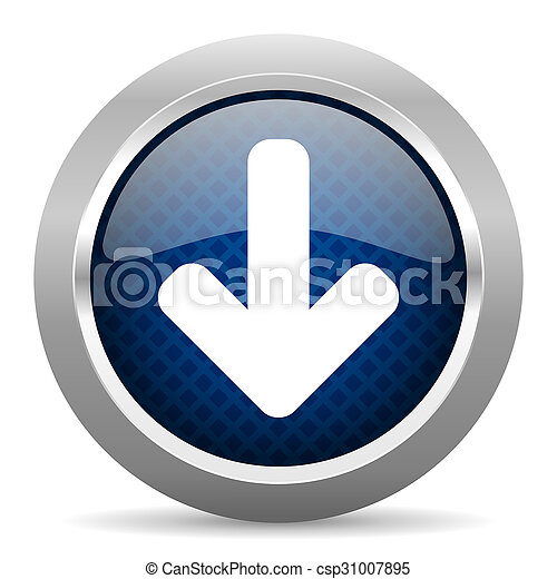 download arrow blue circle glossy web icon on white background, round button for internet and mobile app - csp31007895