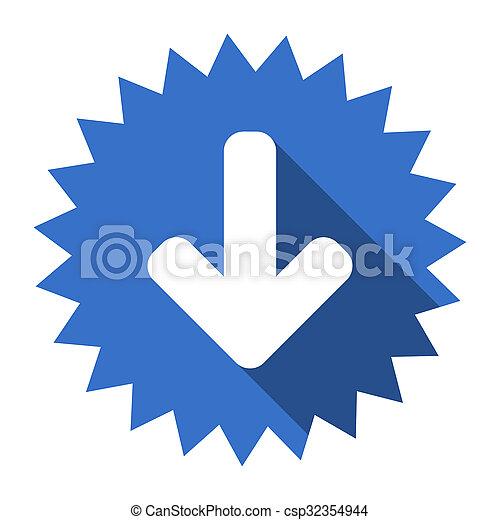 download arrow blue flat icon - csp32354944