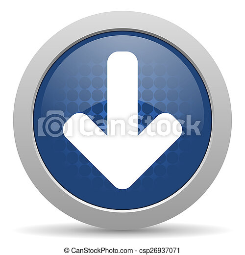 download arrow blue glossy web icon - csp26937071