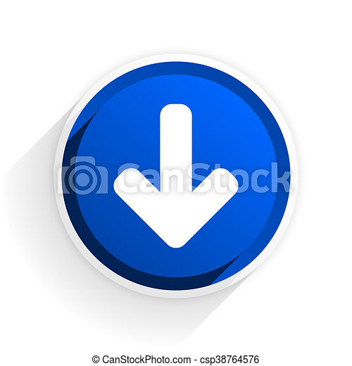 download arrow flat icon with shadow on white background, blue modern design web element - csp38764576