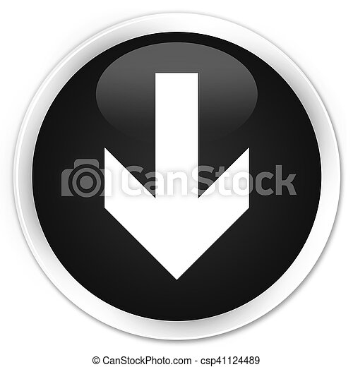 Download arrow icon black glossy round button - csp41124489