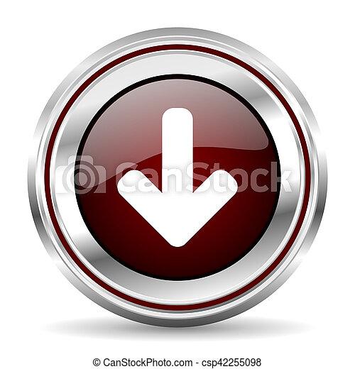 download arrow icon chrome border round web button silver metallic pushbutton - csp42255098