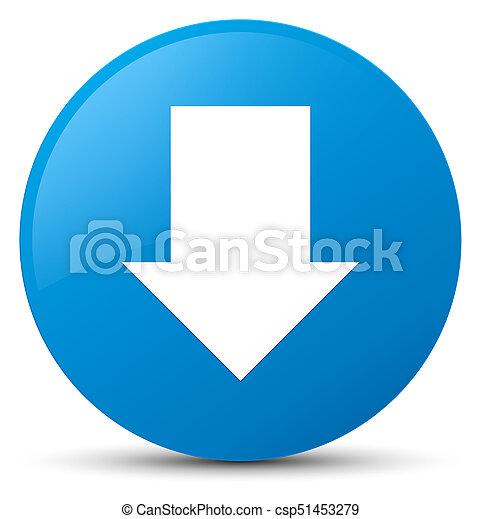 Download arrow icon cyan blue round button - csp51453279