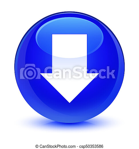Download arrow icon glassy blue round button - csp50353586