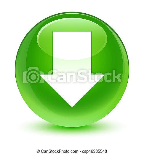 Download arrow icon glassy green round button - csp46385548