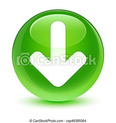 Download arrow icon glassy green round button - csp46385564