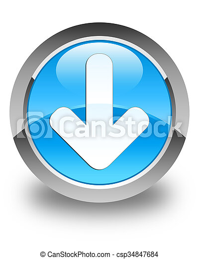 Download arrow icon glossy cyan blue round button - csp34847684