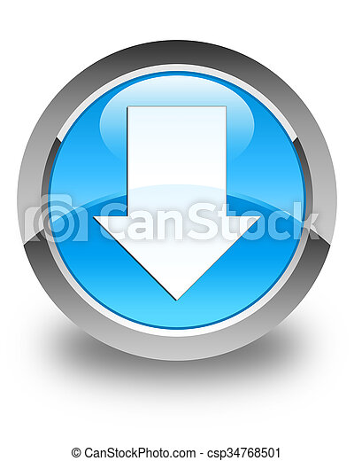 Download arrow icon glossy cyan blue round button - csp34768501