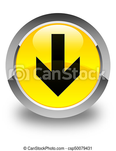 Download arrow icon glossy yellow round button - csp50079431