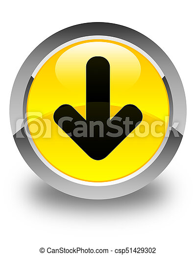 Download arrow icon glossy yellow round button - csp51429302