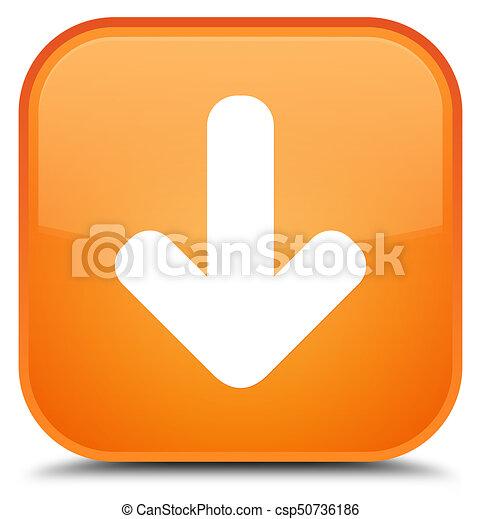 Download arrow icon special orange square button - csp50736186