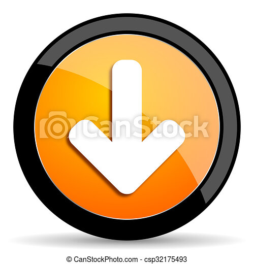 download arrow orange icon - csp32175493