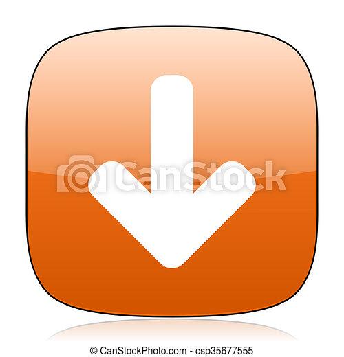 download arrow orange square web design glossy icon - csp35677555