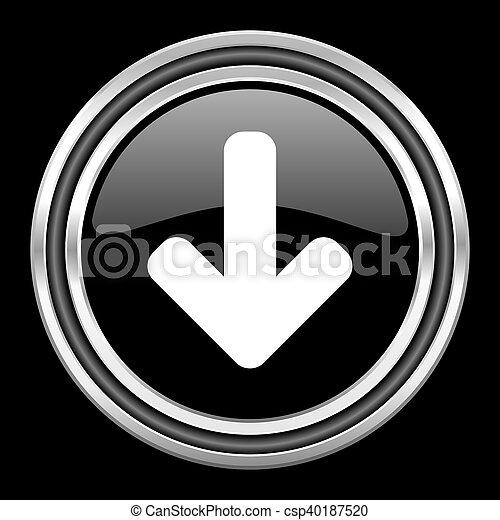 download arrow silver chrome metallic round web icon on black background - csp40187520