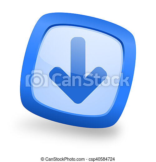 download arrow square glossy blue web design icon - csp40584724