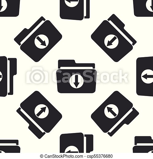 Download arrow with folder icon seamless pattern on white background. Flat design. Vector Illustration - csp55376680