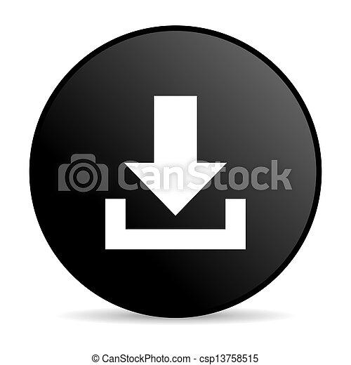 download black circle web glossy icon - csp13758515