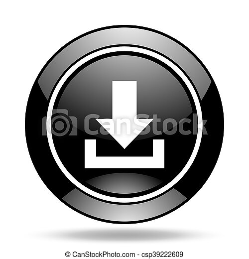 download black glossy icon - csp39222609