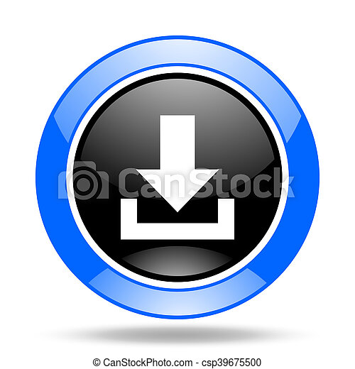 download blue and black web glossy round icon - csp39675500