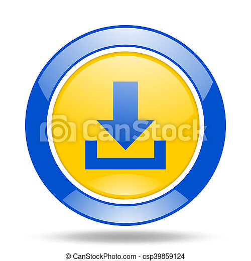 download blue and yellow web glossy round icon - csp39859124