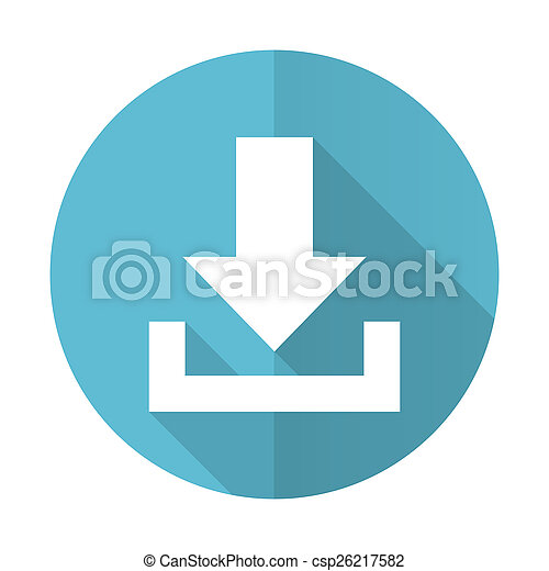 download blue flat icon - csp26217582