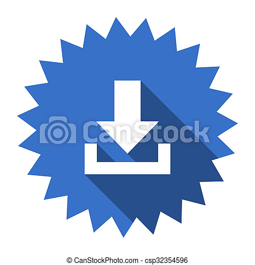 download blue flat icon - csp32354596