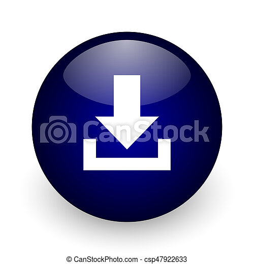 Download blue glossy ball web icon on white background. Round 3d render button. - csp47922633