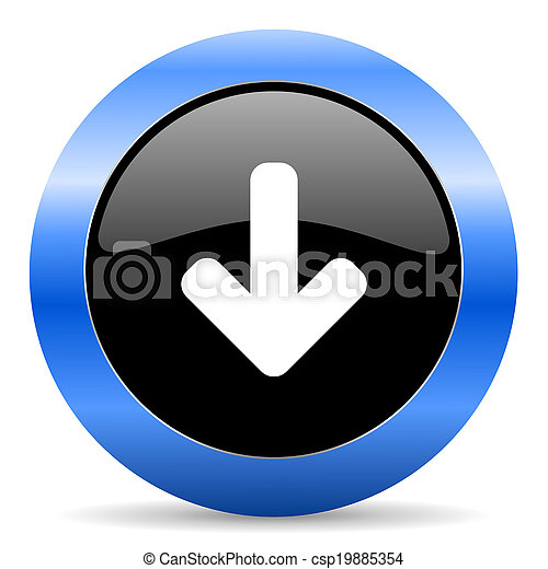 download blue glossy icon - csp19885354