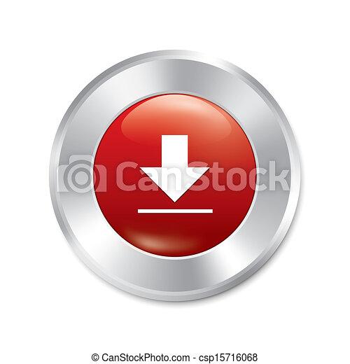 Download button. Red round sticker. - csp15716068